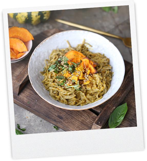 Linsen Curry- Kürbis Spagetti
