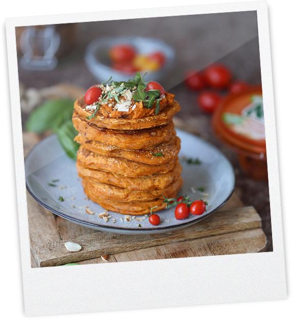 Weiße Bohne-Tomaten Pancakes