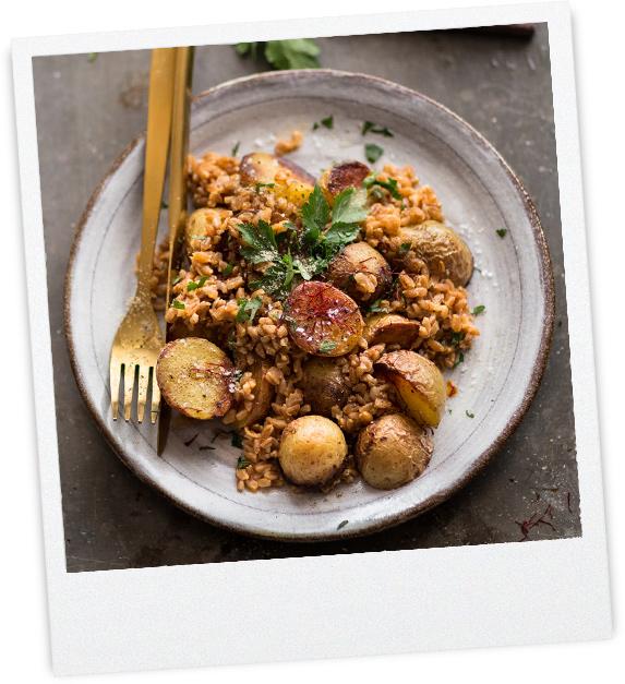 Emmer mit gerösteten Kartoffeln & Safran