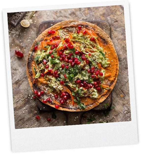 Wrap-Pizza mit Gemüsebelag
