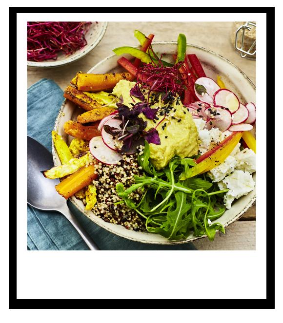 Quinoa-Bowl mit buntem Gemüse